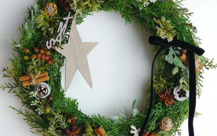 大人シックなクリスマスリース(高品質造花・大・Lサイズ・32cm)