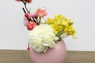 【数量限定!和モダン高品質造花アレンジ】桃・菜の花・春のおとずれ